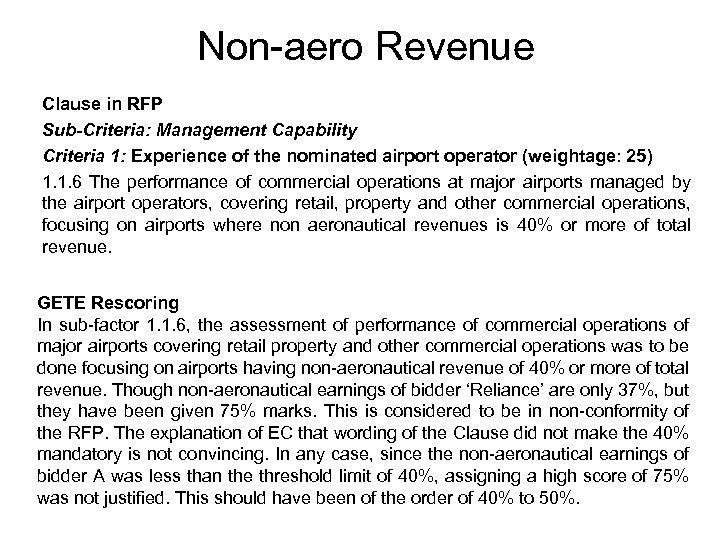 Non-aero Revenue Clause in RFP Sub-Criteria: Management Capability Criteria 1: Experience of the nominated