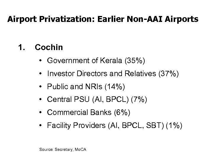 Airport Privatization: Earlier Non-AAI Airports 1. Cochin • Government of Kerala (35%) • Investor