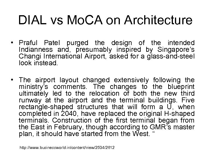 DIAL vs Mo. CA on Architecture • Praful Patel purged the design of the