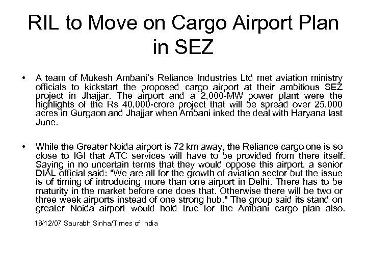 RIL to Move on Cargo Airport Plan in SEZ • A team of Mukesh