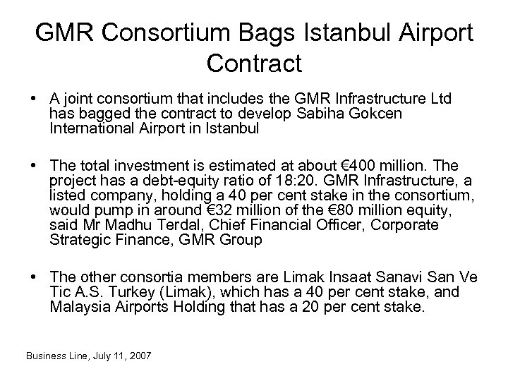 GMR Consortium Bags Istanbul Airport Contract • A joint consortium that includes the GMR