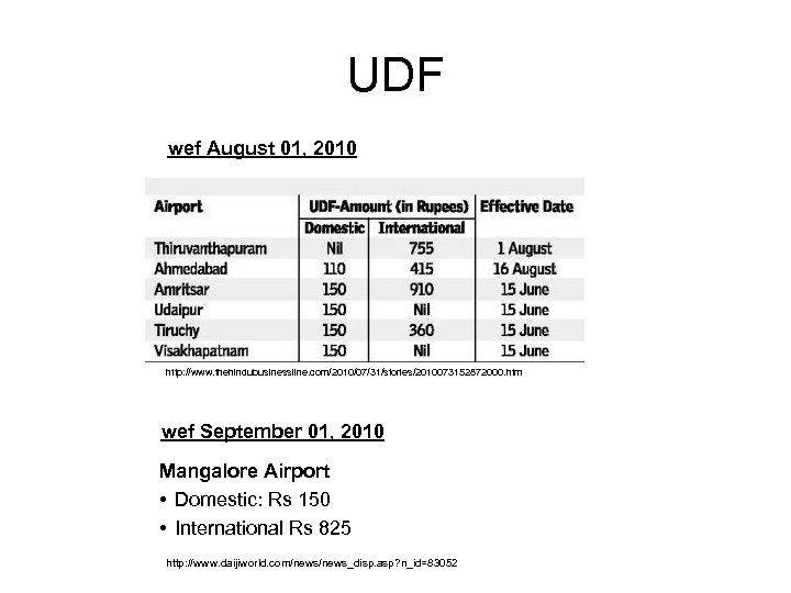 UDF wef August 01, 2010 http: //www. thehindubusinessline. com/2010/07/31/stories/2010073152872000. htm wef September 01, 2010