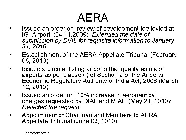 AERA • • • Issued an order on 'review of development fee levied at