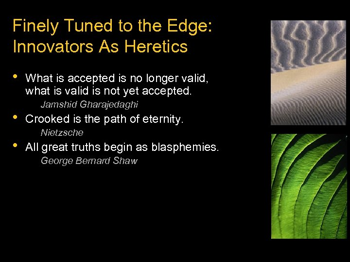 Finely Tuned to the Edge: Innovators As Heretics • • • What is accepted
