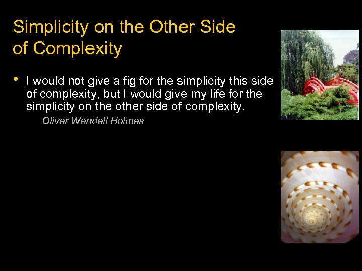 Simplicity on the Other Side of Complexity • I would not give a fig