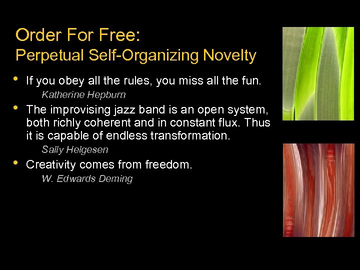 Order For Free: Perpetual Self-Organizing Novelty • • • If you obey all the