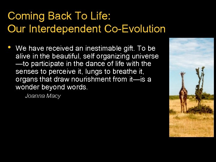 Coming Back To Life: Our Interdependent Co-Evolution • We have received an inestimable gift.