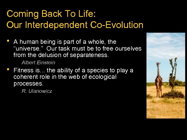 Coming Back To Life: Our Interdependent Co-Evolution • • A human being is part
