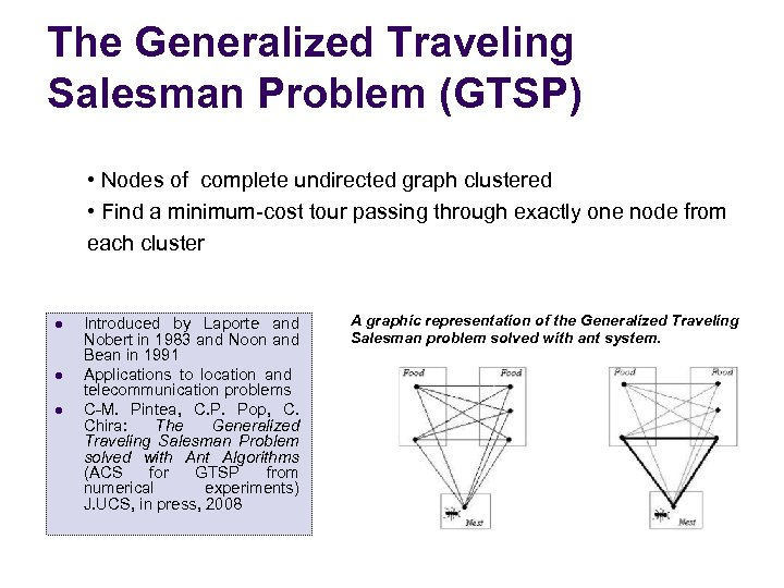 The Generalized Traveling Salesman Problem (GTSP) • Nodes of complete undirected graph clustered •