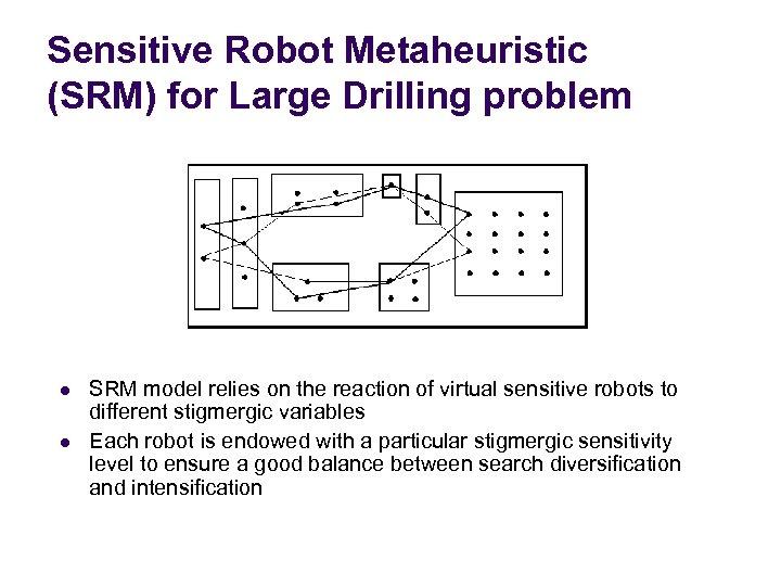 Sensitive Robot Metaheuristic (SRM) for Large Drilling problem l l SRM model relies on