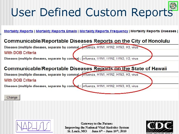 User Defined Custom Reports Gateway to the Future: Improving the National Vital Statistics System