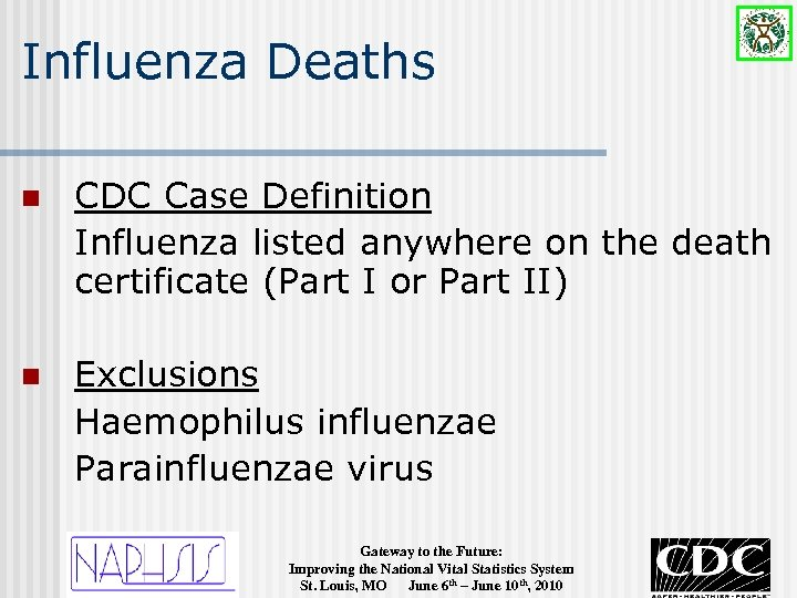 Influenza Deaths n CDC Case Definition Influenza listed anywhere on the death certificate (Part