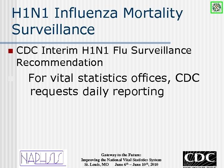 H 1 N 1 Influenza Mortality Surveillance n n CDC Interim H 1 N