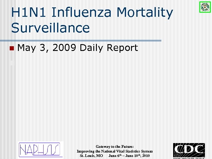 H 1 N 1 Influenza Mortality Surveillance n May 3, 2009 Daily Report n