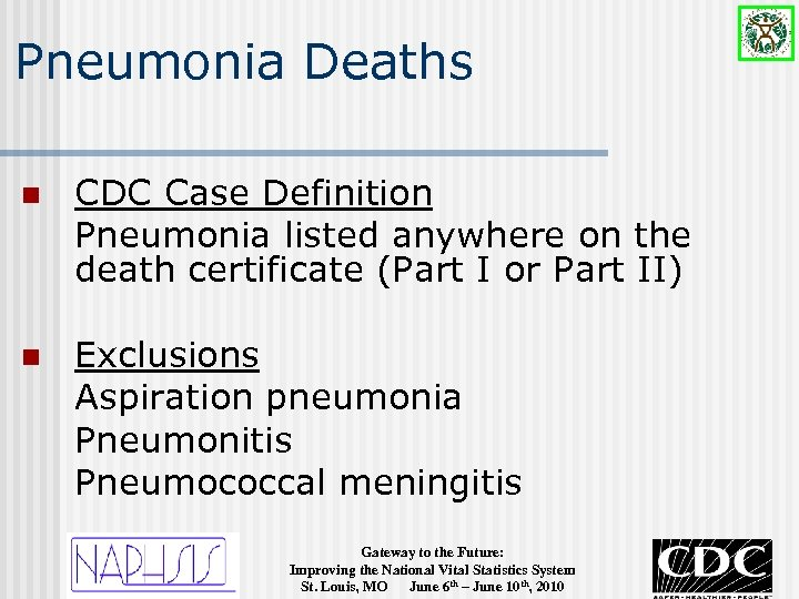 Pneumonia Deaths n CDC Case Definition Pneumonia listed anywhere on the death certificate (Part