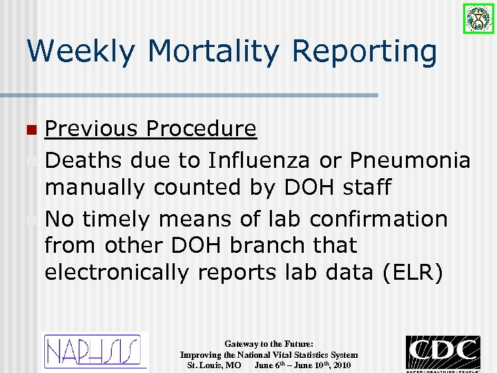 Weekly Mortality Reporting Previous Procedure n Deaths due to Influenza or Pneumonia manually counted