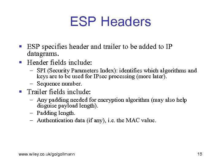 ESP Headers § ESP specifies header and trailer to be added to IP datagrams.