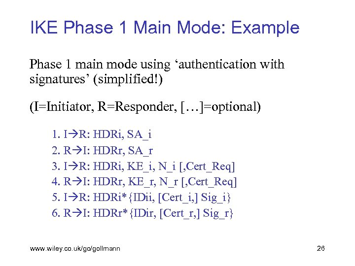 IKE Phase 1 Main Mode: Example Phase 1 main mode using 'authentication with signatures'