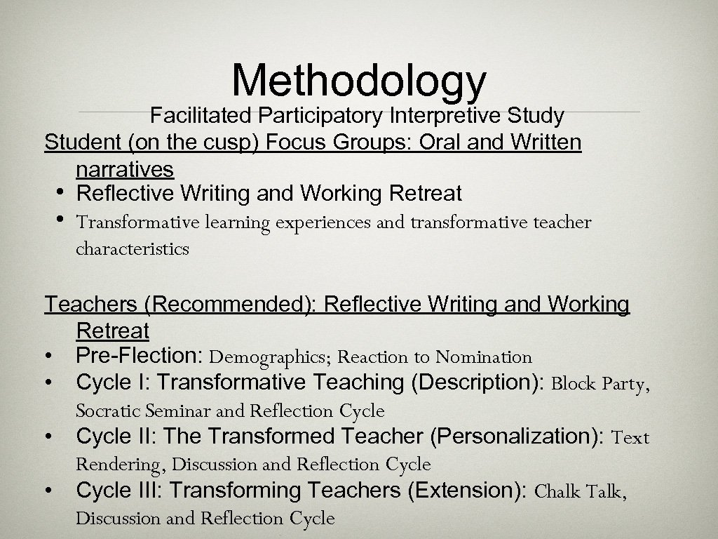 Methodology Facilitated Participatory Interpretive Study Student (on the cusp) Focus Groups: Oral and Written