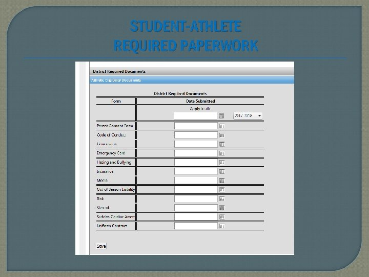 STUDENT-ATHLETE REQUIRED PAPERWORK