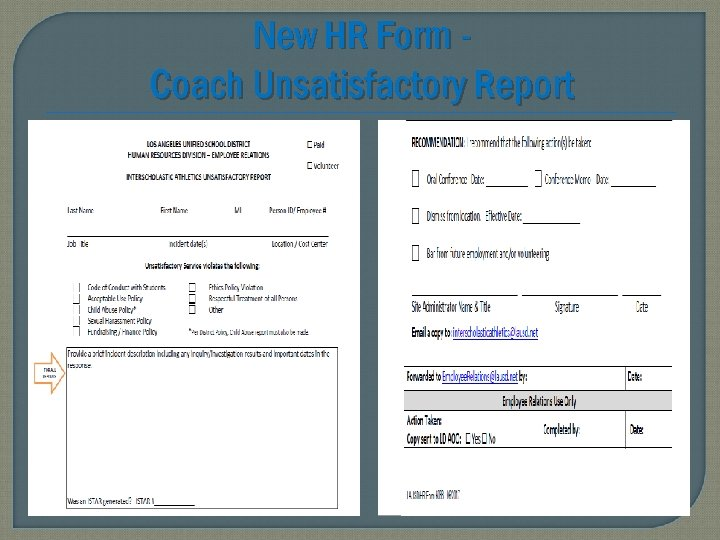 New HR Form Coach Unsatisfactory Report