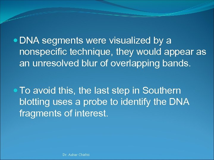 DNA segments were visualized by a nonspecific technique, they would appear as an