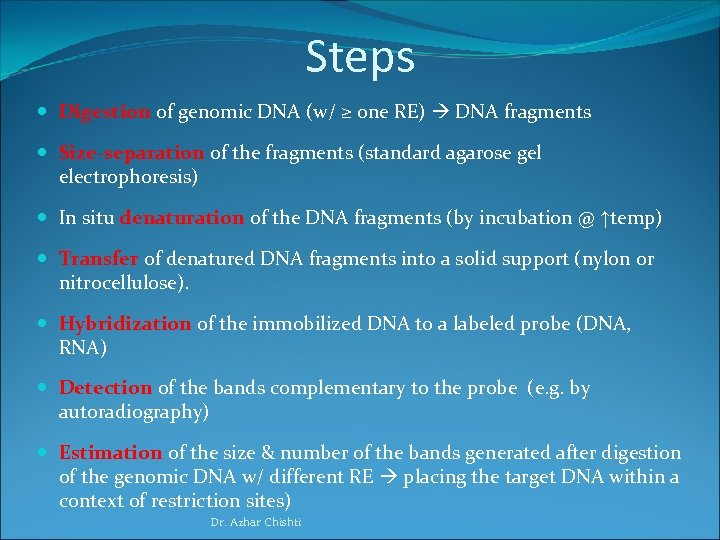 Steps Digestion of genomic DNA (w/ ≥ one RE) DNA fragments Size-separation of the