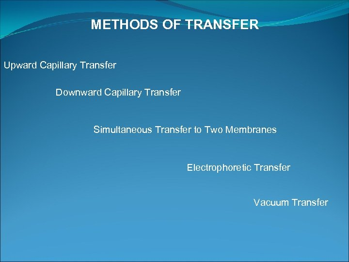 METHODS OF TRANSFER Upward Capillary Transfer Downward Capillary Transfer Simultaneous Transfer to Two Membranes