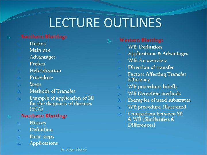 LECTURE OUTLINES 1. 2. Southern Blotting: 1. History 2. Main use 3. Advantages 4.
