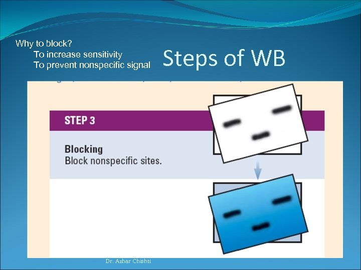 Why to block? To increase sensitivity To prevent nonspecific signal Dr. Azhar Chishti Steps