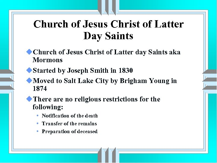 Church of Jesus Christ of Latter Day Saints u. Church of Jesus Christ of