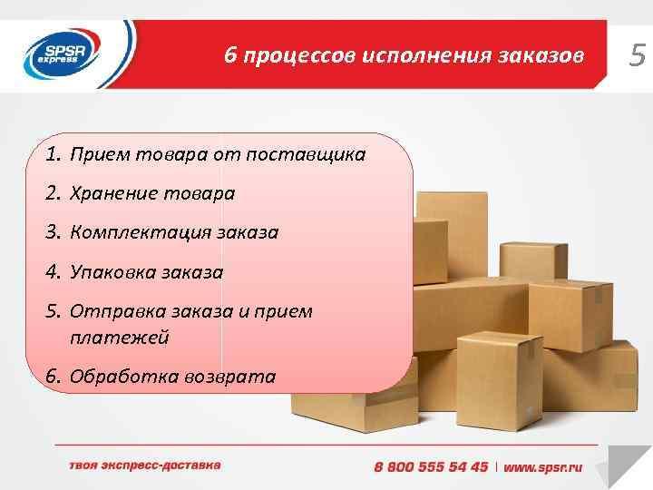 6 процессов исполнения заказов 1. Прием товара от поставщика 2. Хранение товара 3. Комплектация