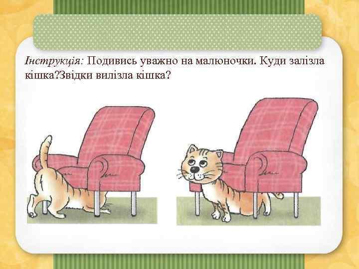 Інструкція: Подивись уважно на малюночки. Куди залізла кішка? Звідки вилізла кішка?