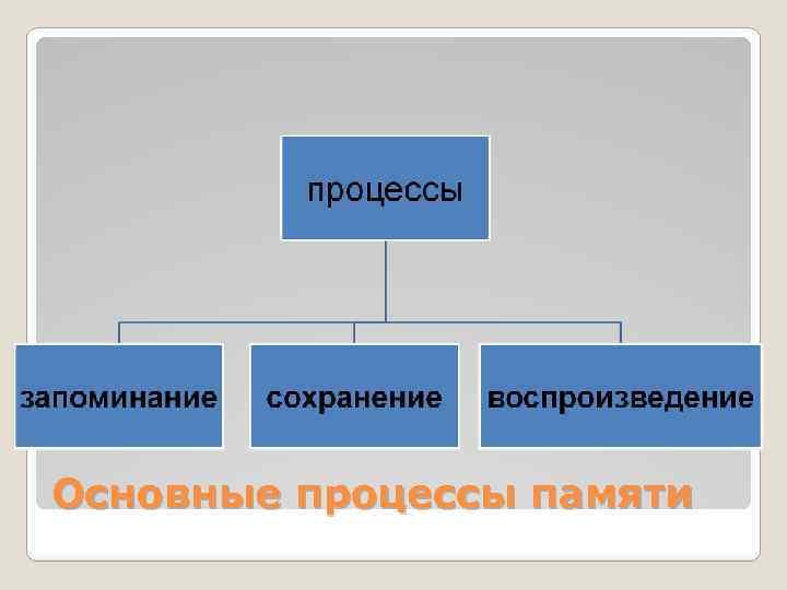 Основные процессы памяти
