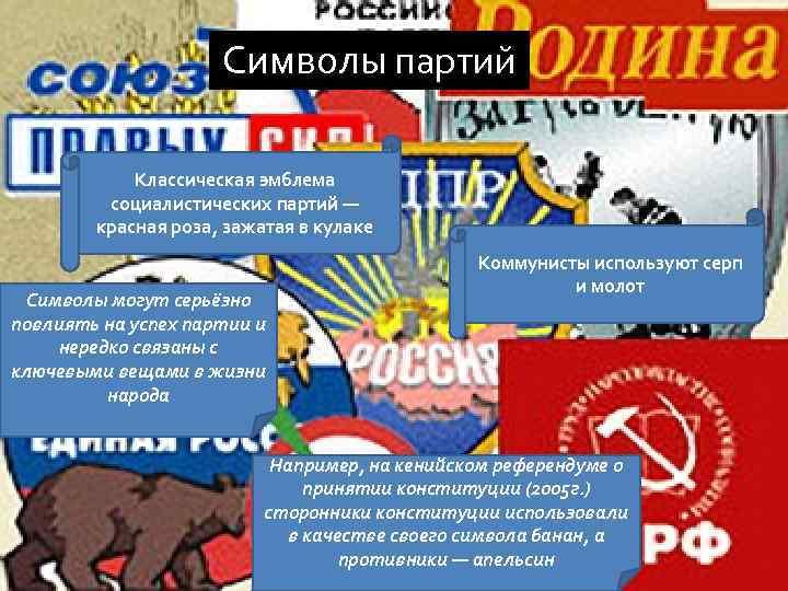 Символы партий Классическая эмблема социалистических партий — красная роза, зажатая в кулаке Символы могут