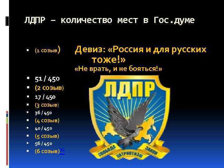 ЛДПР – количество мест в Гос. думе (1 созыв ) Девиз: «Россия и для