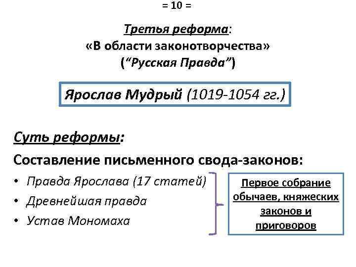 """= 10 = Третья реформа: «В области законотворчества» (""""Русская Правда"""") Ярослав Мудрый (1019 -1054"""