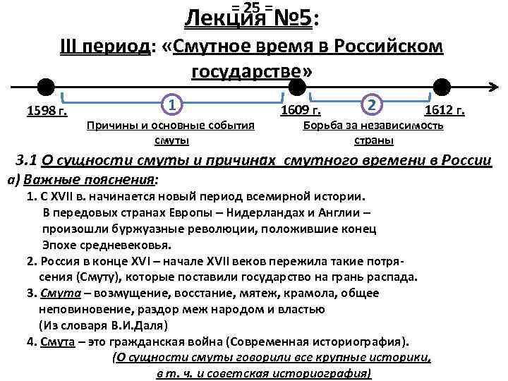 = 25 = Лекция № 5: III период: «Смутное время в Российском государстве» 1598