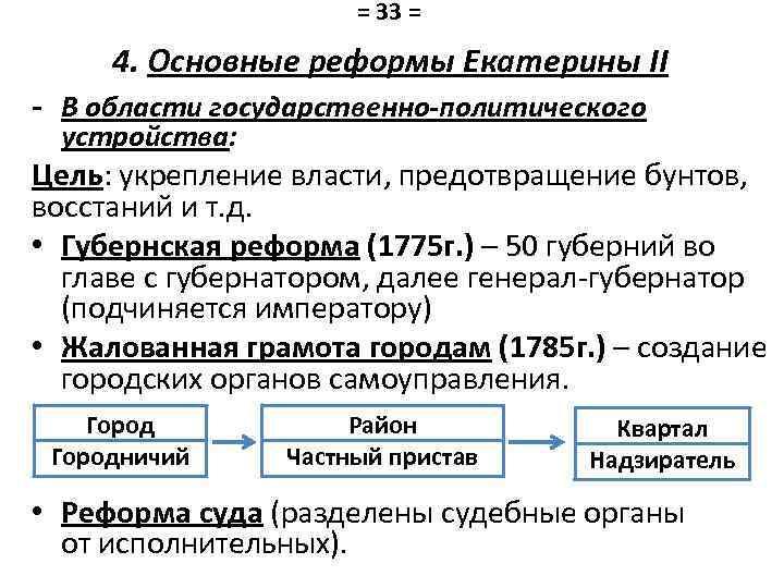 = 33 = 4. Основные реформы Екатерины II - В области государственно-политического устройства: Цель: