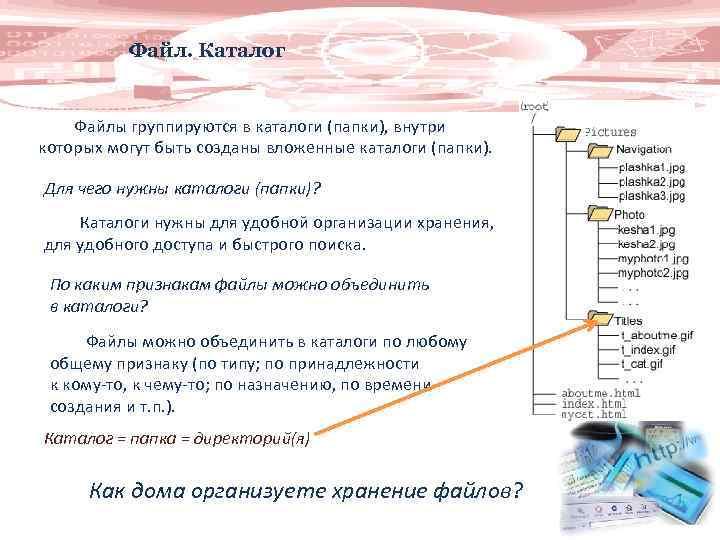 Файл. Каталог Файлы группируются в каталоги (папки), внутри которых могут быть созданы вложенные каталоги
