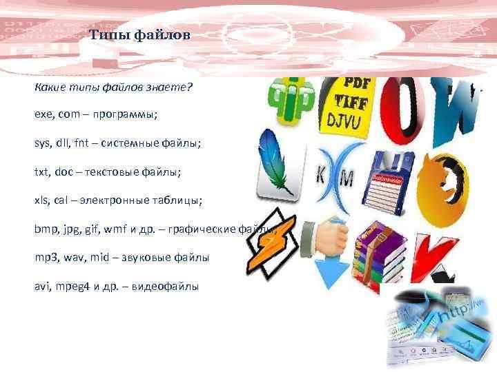 Типы файлов Какие типы файлов знаете? еxe, com – программы; sys, dll, fnt –