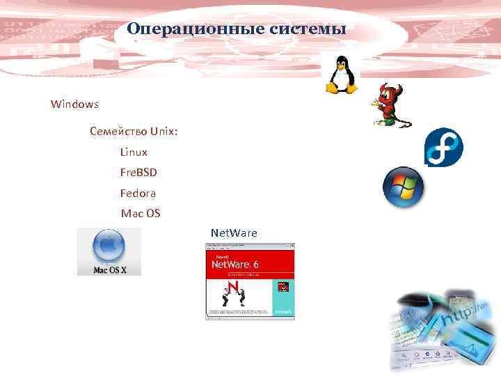 Операционные системы Windows Семейство Unix: Linux Fre. BSD Fedora Mac OS Net. Ware 7