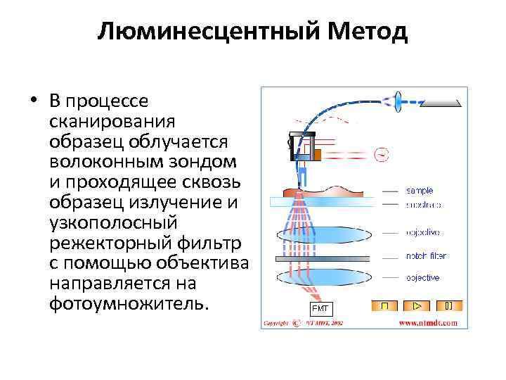 Люминесцентный Метод • В процессе сканирования образец облучается волоконным зондом и проходящее сквозь образец