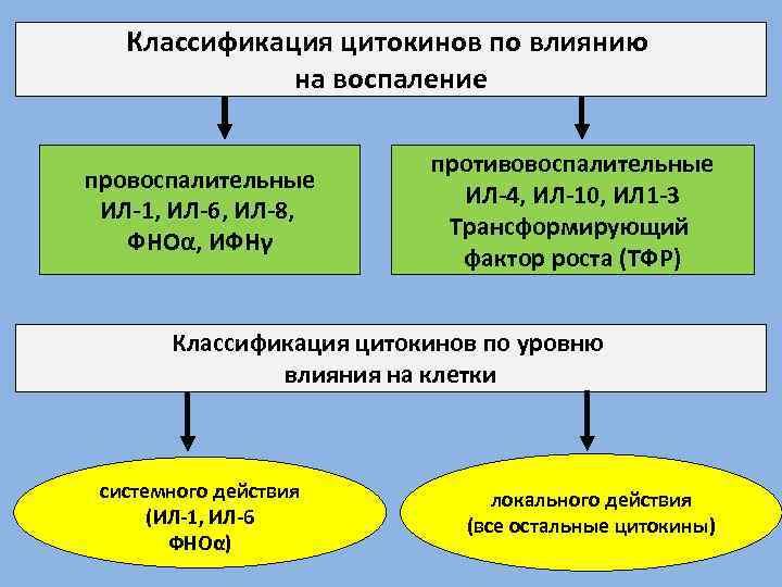 Классификация цитокинов по влиянию на воспаление провоспалительные ИЛ-1, ИЛ-6, ИЛ-8, ФНОα, ИФНγ противовоспалительные ИЛ-4,