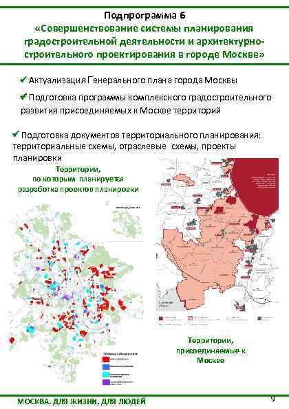 Подпрограмма 6 «Совершенствование системы планирования градостроительной деятельности и архитектурностроительного проектирования в городе Москве» Актуализация