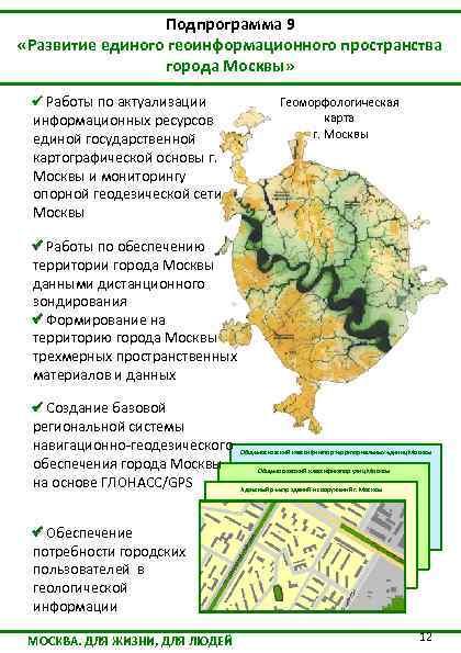 Подпрограмма 9 «Развитие единого геоинформационного пространства города Москвы» Работы по актуализации информационных ресурсов единой