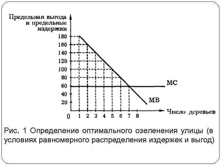 Рис. 1 Определение оптимального озеленения улицы (в условиях равномерного распределения издержек и выгод)