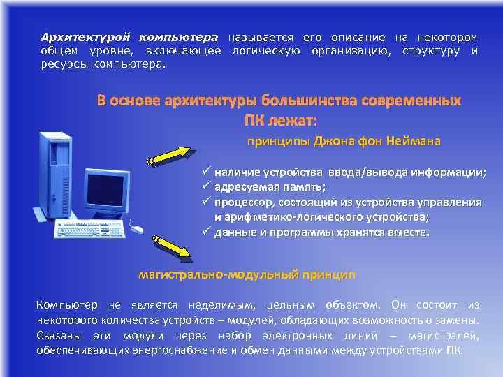 Архитектурой компьютера называется его описание на некотором общем уровне, включающее логическую организацию, структуру и
