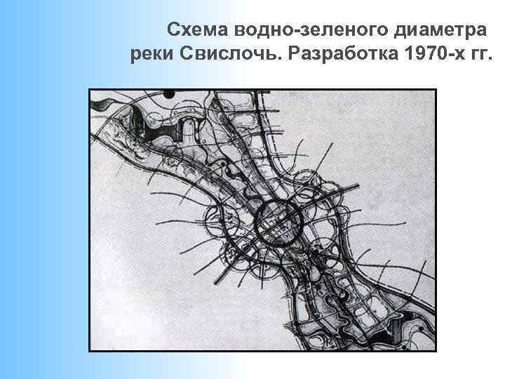 Схема водно-зеленого диаметра реки Свислочь. Разработка 1970 -х гг.