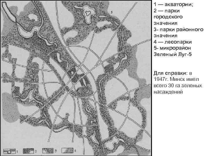 1 — акватории; 2 — парки городского значения 3 - парки районного значения 4